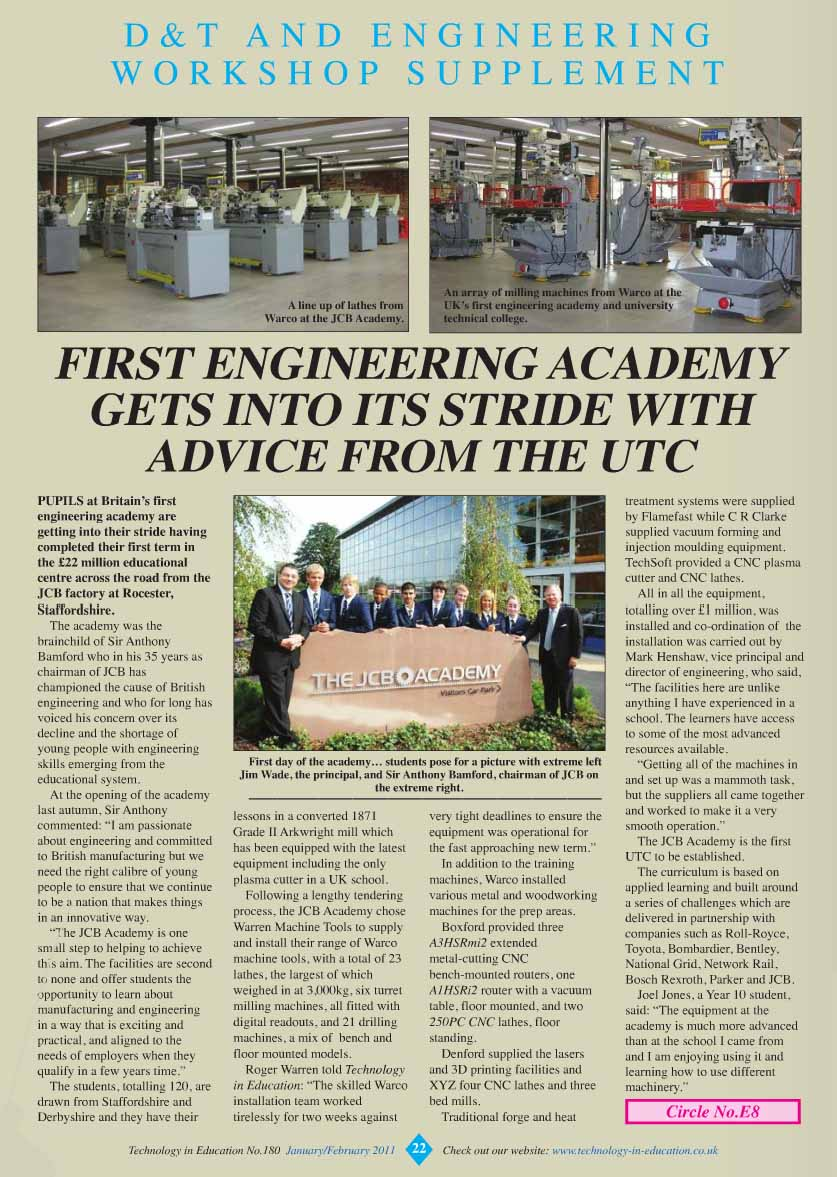 Article about JCB Academy and Warco machines