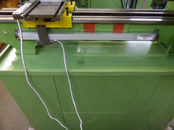 Glass optical scale - view from rear on Warco lathe
