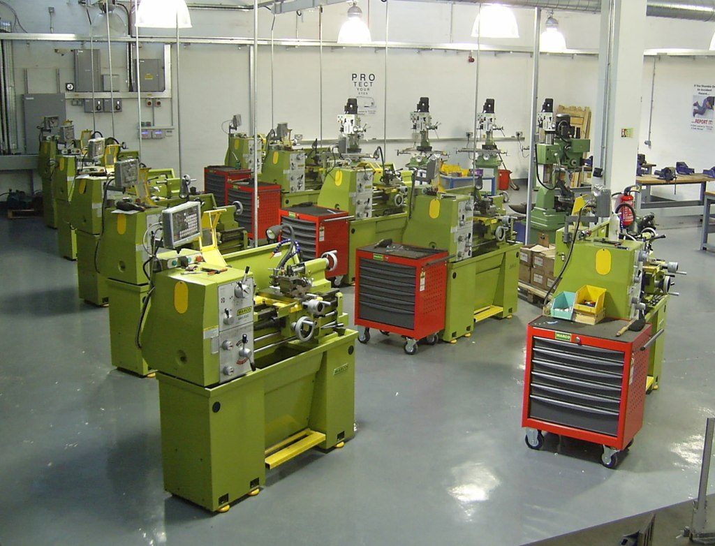 A row of Warco GH1322 lathes